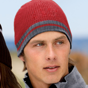 Waffle Beanie with Ribbed Edge