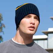 Rib Knit Beanie with Stripe