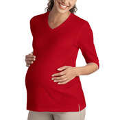 Port Authority® - Ladies Silk Touch™ Maternity 3/4-Sleeve V-Neck Shirt. L561M.
