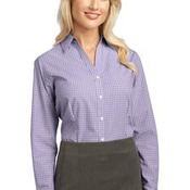 Ladies Plaid Pattern Easy Care Shirt. L639