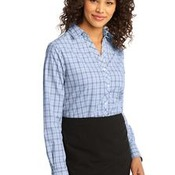 Ladies Crosshatch Plaid Easy Care Shirt. L641