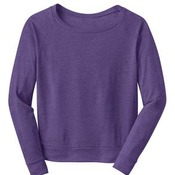 District® - Juniors Textured Wide Neck Long Sleeve Raglan DT272