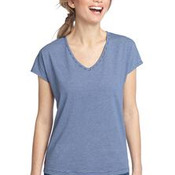 District Made™ - Ladies Mini Stripe Dolman V-Neck Tee. DM422