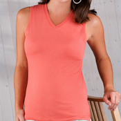 LA T Ladies' Jersey V-Neck Sleeveless Tee