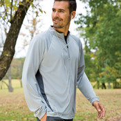 UltraClub® Adult Cool & Dry Sport 1/4-Zip Pullover with Side Panels